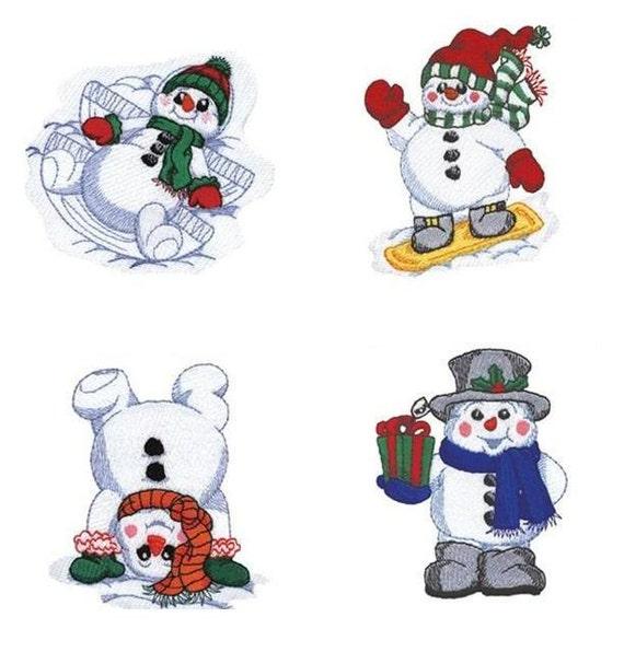 Playful Snowmen Embroidery Designs - Pes / Hus / ART / Jef 20 INSTANT DOWNLOAD