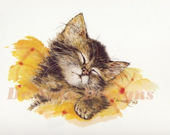 "Kitten Sleeping Watercolor Painting ""Cat Nap"" Limited Edition Prints"
