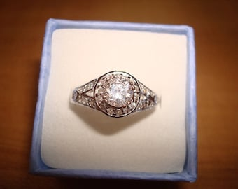 Diamond Cut White Sapphire 925 Sterling Silver Halo Engagement Ring Size 8