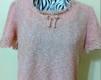 Vintage 1950 Salmon Pink Knit Blouse  with Lace Detail Neckline size Medium aprox