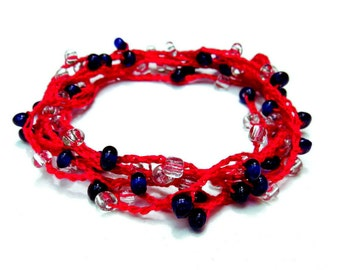 Wrap bracelet necklace anklet garnet red blue white handmade crochet 4th of july patriotic bracelet with glass beads
