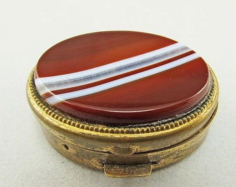 Vintage Carnelian Agate Box Pill Box Antiques Collectibles Vintage Supplies Banded Agate Pin Box