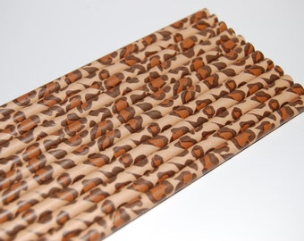 Leopard Print Paper Straws - 25/Pack - Animal Print, Jungle Party, Leopard Spots, Zoo, Safari