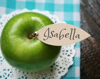 Beautifully simple, elegant, rustic, modern, kraft, apple leaf place setting cards