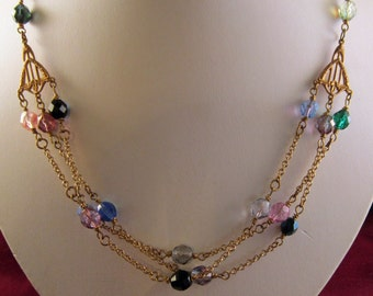 Vintage Brass Multi-colored Czech Glass Bead Chain Necklace