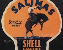 Shell Gasoline 1920s Travel Decal Magnet for SALINAS (CA). Accurately Reproduced & hand cut in shape as designed. Nice Travel Decal Art