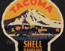 Shell Gasoline 1920s Travel Decal Magnet for TACOMA (WA). Accurately Reproduced & hand cut in shape as designed. Nice Travel Decal Art
