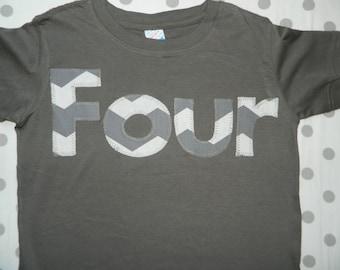 Toddler Birthday Shirt, Toddler Boy 4th Birthday Shirt, Toddler Birthday Shirt with Gray Chevron