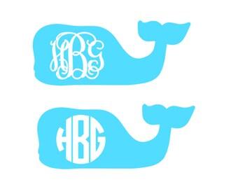 Custom Personalized Vineyard Vines Inspired Whale Monogram