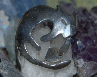 Vintage Sterling Silver Kitty Cat Feline