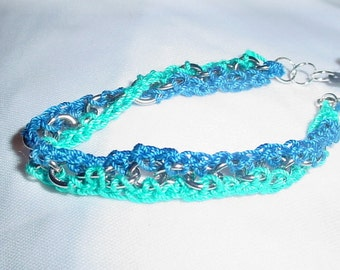 Crochet Bracelet Chain Bracelet Blue Bracelet Green Bracelet Dark Chain Crochet Jewelry