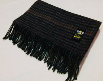 Wool Scarf Checks Pattern Neck Wrap Made In Japan