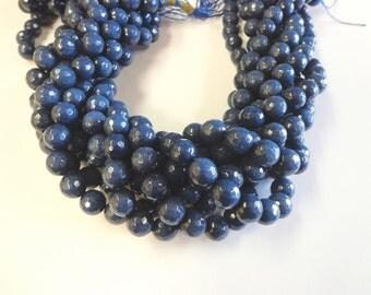 Beautiful Navy Blue Faceted Jade