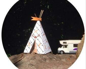 Teepee indian Printable DIY  Instant Download Paper Toy 3d Favorbox