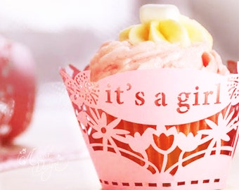 It's a Girl Silhouette Cupcake Wrapper 10pcs, Pink / Gold color, Baby Girl Shower Celebration Party Cupcake Wrappers, Cup cake Decor