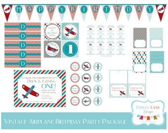 Vintage Airplane Birthday Party Printable Package, Vintage Airplane Birthday, Airplane Birthday, Plane Birthday