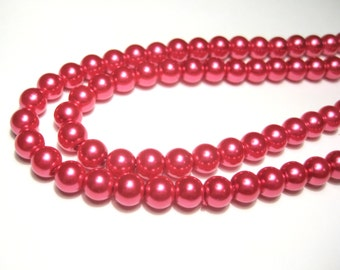 100pcs Red Glass Pearl Beads 6mm Round Glass Beads R-3