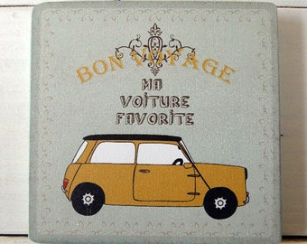 Coaster-wooden-mini-yellow-car-voiture-bon voyage-table decor-wall decor