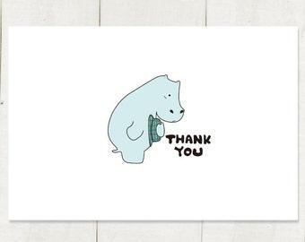 Thank you  postcard small card  merci  light green hippo  cute animal white 4X6 art print