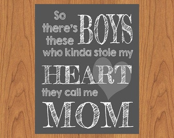So There's These Boys Wall Art Nursery Print Grey White 8x10 Matte Finish Paper (42-3)