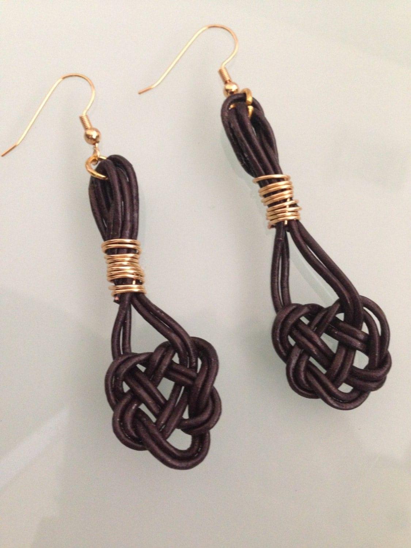 leather celtic knot earrings celtic love knot brown leather. Black Bedroom Furniture Sets. Home Design Ideas