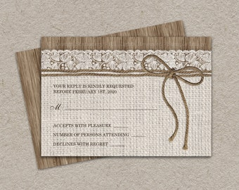 DIY Printable Rustic RSVP Card With Burlap And Lace, Rustic Wedding Response Cards, Burlap Wedding RSVP, Burlap & Lace Wedding rsvp