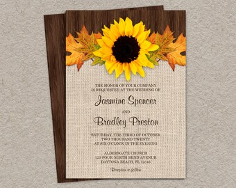Fall Wedding Invitations With Sunflower And Leaves, DIY Printable Sunflower Invitation Cards, Rustic Country Wedding Invites