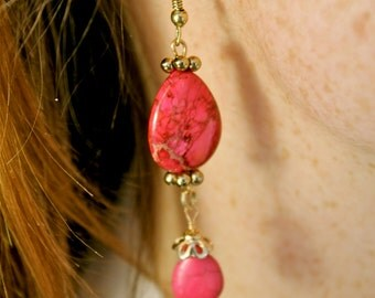 Pink and Gold Dangle Earrings made from Recycled Materials