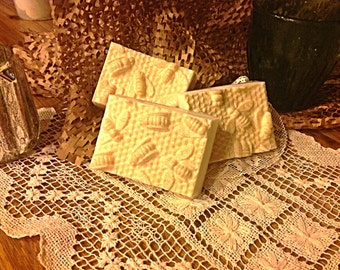 6 pack-Jasmine oatmeal and honey soap in honeycomb mold.