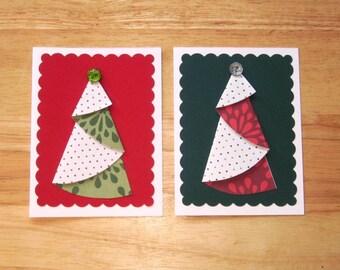 Christmas Tree Card - Christmas Card Set - Holiday Card - Homemade Christmas Card - Christmas Greeting Card - X-Mas Tree Card - Set of Two