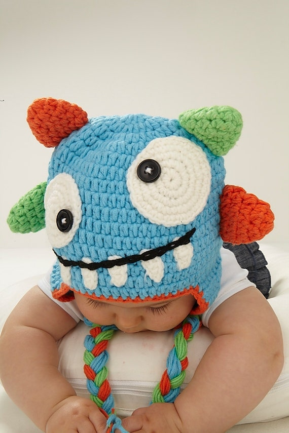 Amigurumi Earflap Hat : Items similar to My Monster Crochet Hat on Etsy