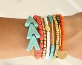 Turquoise Arrow Layering Bracelet. Turquoise and Gold Bracelet. Turquoise Arrow Stackable Bracelet. Tribal Summer Bracelet.