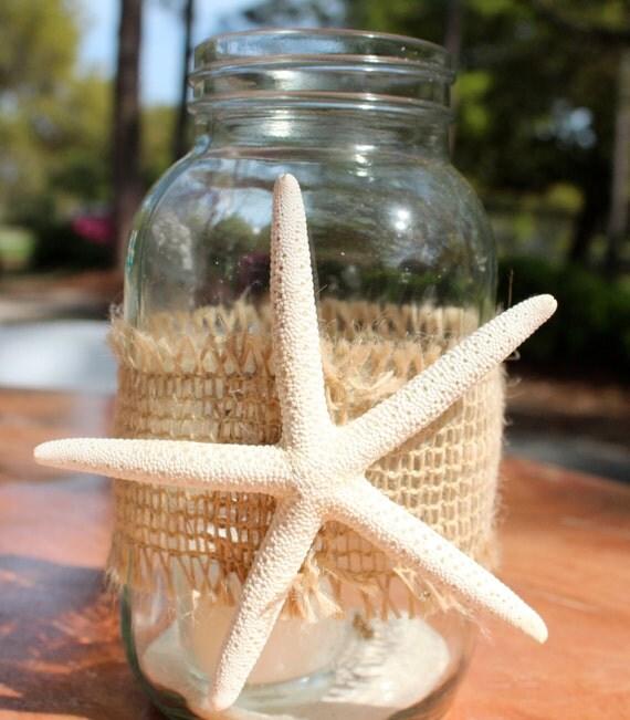 Beach Wedding Ideas Mason Jars: Items Similar To Burlap Starfish Wrap For Mason Jars Beach