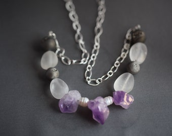 Gemstone Bead Necklace: amethyst, fresh water pearl, rock crystal quartz, drusy geode