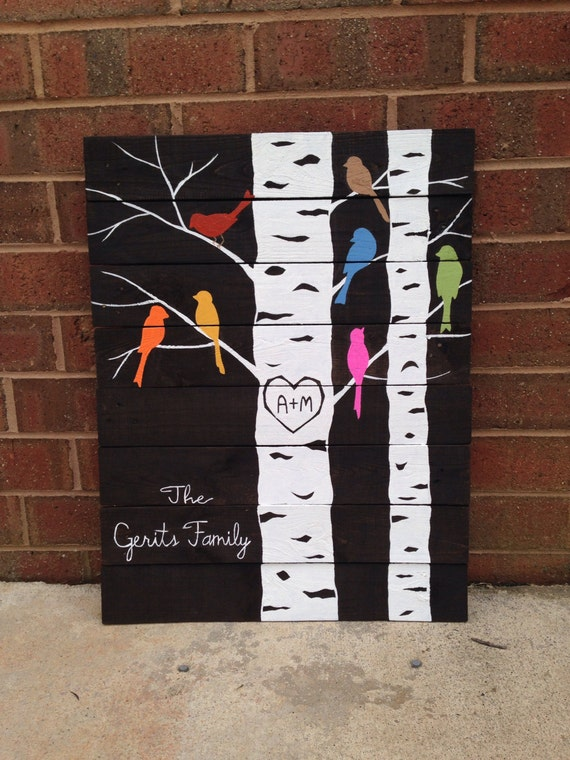 Pallet Wood Name And Bird Sign >> Family Tree - pallet art, made to order