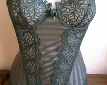 """BUSTIER or  CORSET Lace withe  """"whales"""" green"""