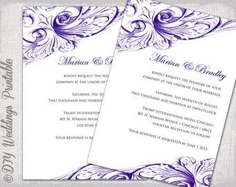 Wedding invitation template Eggplant DIY wedding invitations Regency purple   Vintage Scroll  printable invites Wedding invitation templates Apple red and black. Regency Wedding Invitations. Home Design Ideas