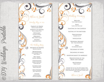 "Wedding program template charcoal gray & orange ""Scroll"" wedding order of ceremony program templates DIY printable Tangerine orange download"