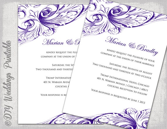 Wedding invitation template Eggplant DIY wedding invitations – Word Invitation Templates Free