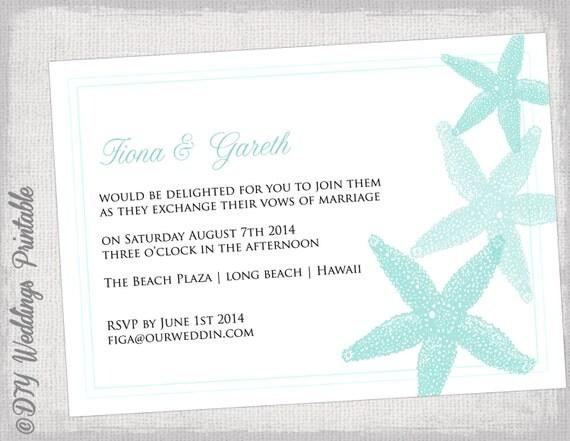 Etsy Beach Wedding Invitations: Beach Wedding Invitation Template Aqua Starfish