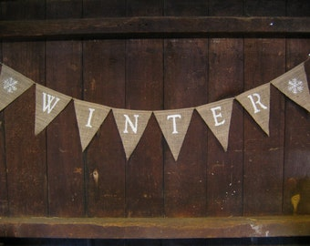 Winter Burlap Banner, Glitter, Winter Bunting, Winter Garland, Christmas Decor, Home Decor, Burlap Bunting Garland, Winter Decor, Rustic