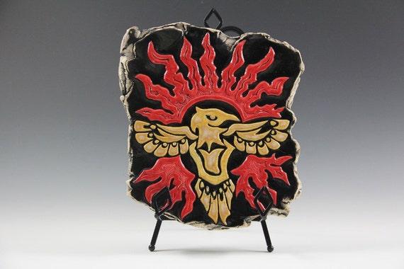 Phoenix decorative tile on metal stend// hand carved ceramic tile// red and black ceramics