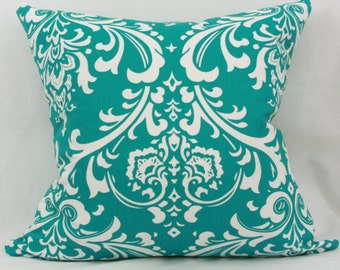 "Teal & white decorative throw pillow cover.  20"" x 20"" pillow cover. Accent pillow."
