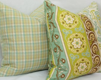 """Green & blue decorative throw pillow cover. 18"""" x 18"""" pillow cover. Accent pillow."""