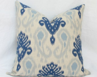"Blue & natural ikat decorative pillow cover. 20"" x 20"". 22"" x 22"". 24"" x 24"" . 26"" x 26"" euro sham toss pillow. accent pillow. sofa pillow."