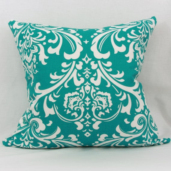 Teal Decorative Bed Pillows : Teal & white decorative throw pillow cover. 20 x by JoyWorkshoppe