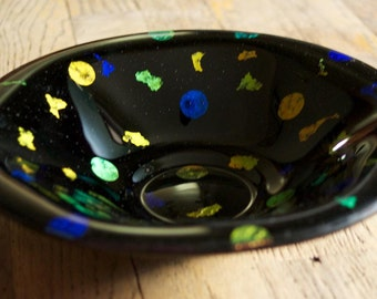 Hand Made Fused Black Glass Bowl with Circles and Shapes made of Dichroic Glass