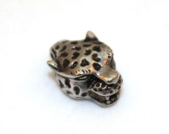 Leopard Head Bead, Stainless Steel