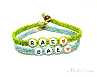 Couples or Friendship Bracelets, BAE, Before Anyone Else, Lime Green and Light Blue Hemp Jewelry, Black Friday Cyber Monday Sale