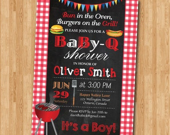 BBQ Baby Shower Invitation. Baby-Q Shower Invitation. Co-ed Baby Shower Invite. Babyque Bbq Boy or Gril Baby Shower. Printable digital DIY.